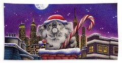 Christmas Koala In Chimney Beach Towel by Remrov