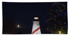 Christmas Lighthouse Beach Towel
