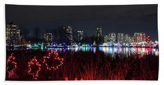 Christmas Lights At Lafarge Lake In City Of Coquitlam Beach Towel