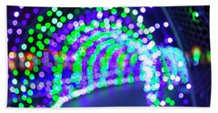 Christmas Lights Decoration Blurred Defocused Bokeh Beach Towel