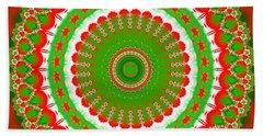 Christmas Mandala Fractal 001 Beach Towel