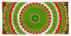 Christmas Mandala Fractal 001 Beach Towel