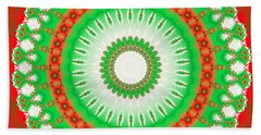 Christmas Mandala Fractal 002 Beach Sheet