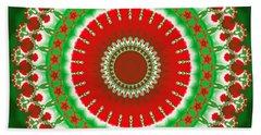 Christmas Mandala Fractal 003 Beach Towel