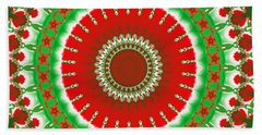 Christmas Mandala Fractal 003 Beach Towel