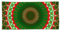 Christmas Mandala Fractal 004 Beach Sheet