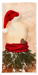 Christmas Mannequin With Santa Hat Beach Towel
