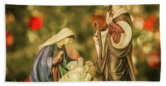 Christmas Nativity Beach Towel by John Roberts