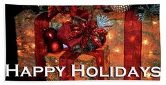 Christmas Packages 1 Happy Holidays Card Beach Towel