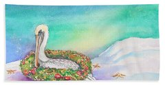 Christmas Pelican Beach Towel