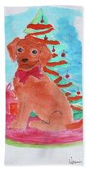 Christmas Puppy  Beach Towel