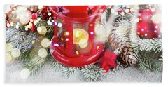 Christmas Red Lantern  Beach Towel by Anastasy Yarmolovich