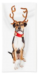 Christmas Reindeer Dog Tall Banner Beach Sheet