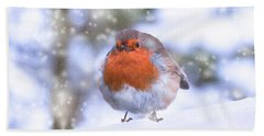 Beach Sheet featuring the photograph Christmas Robin by Scott Carruthers