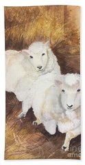 Beach Towel featuring the painting Christmas Sheep by Lucia Grilletto