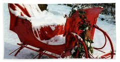 Christmas Sleigh Beach Towel