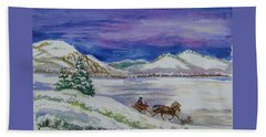 Beach Towel featuring the painting Christmas Sleigh by Dawn Senior-Trask