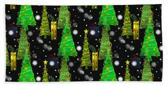 Christmas Snow Fall Beach Towel