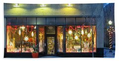 Christmas Storefront Beach Sheet by Victor Montgomery