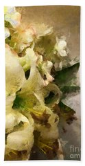 Christmas White Flowers Beach Towel