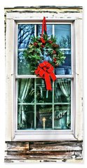 Christmas Window Beach Sheet by Sandy Moulder