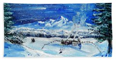 Beach Towel featuring the painting Christmas Wonderland by Shana Rowe Jackson
