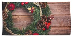 Christmas Wreath  Beach Towel
