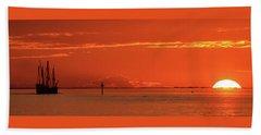 Christopher Columbus Sailing Ship Nina Sails Off Into The Sunset Panoramic Beach Sheet
