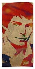 Christopher Reeve Watercolor Portrait Beach Towel