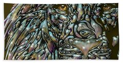 Beach Towel featuring the digital art Chrome Lion by Darren Cannell