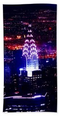 Chrysler Building At Night Beach Sheet by Az Jackson