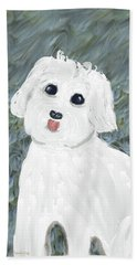 Beach Towel featuring the painting Chubby Puppy by Rosalie Scanlon