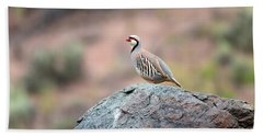 Chukar Partridge 2 Beach Sheet by Leland D Howard