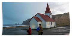 Beach Towel featuring the photograph Church Above Reynisfjara Black Sand Beach, Iceland by Dubi Roman