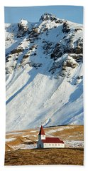 Beach Towel featuring the photograph Church And Mountains In Winter Vik Iceland by Matthias Hauser