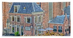 Church Cafe In Groningen Beach Towel by Frans Blok