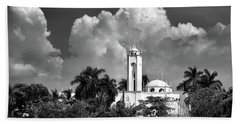 Church In Black And White Beach Sheet by Jim Walls PhotoArtist