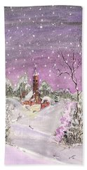 Beach Towel featuring the digital art Church In The Snow by Darren Cannell