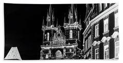 Beach Sheet featuring the photograph Church Of Our Lady Before Tyn. Night Prague by Jenny Rainbow