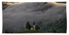 Beach Sheet featuring the photograph Church Of St. Thomas - Slovenia by Stuart Litoff