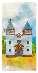 Church Of The Holy Family Beach Towel by Greg Collins