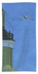 Church Steeple With Seagull Beach Sheet