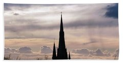 Church Top Silhouette Beach Towel