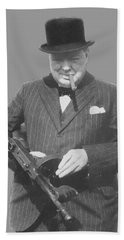 Churchill Posing With A Tommy Gun Beach Sheet by War Is Hell Store
