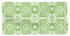 Cilantro- Green And White Art By Linda Woods Beach Towel