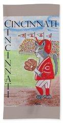 Cinci Reds Cat Beach Sheet by Diane Pape