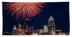 Cincinnati Fireworks Beach Towel by Scott Meyer