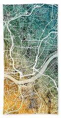 Cincinnati Ohio City Map Beach Towel