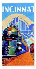 Cincinnati Railway, Trains, Travel Poster Beach Towel