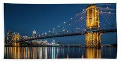 Cincinnati's Roebling Suspension Bridge At Dusk Beach Sheet